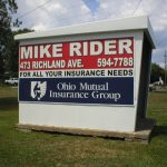 Ohio insurance ad on a bus shelter