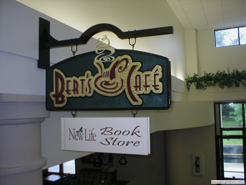 A custom interior sign for a cafe
