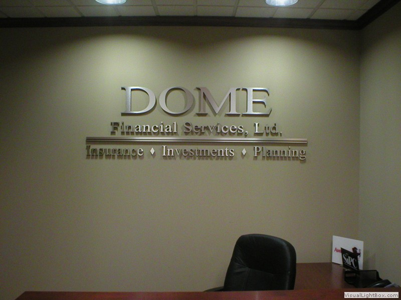 Custom interior wall sign for financial services