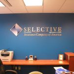 Custom interior business sign for insurance company