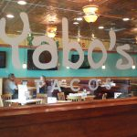 Interior sign for Yabo's Tacos
